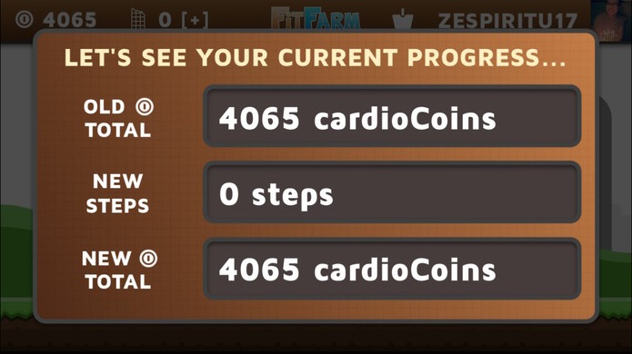 A view of the FitFarm progress screen that converts the number of steps the player took since last app load to in-game currency.